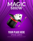 Magic Show poster design template. Magic show flyer design with magic hat and curtains Stock Photos