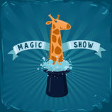 Magic show poster. Giraffe leans out of the magic hat vector illustration