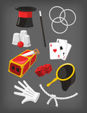 Magic show presentation elements icon collection Stock Image