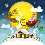 Cute Santa Claus. Magic silent night. Cute Santa Claus with gifts is coming down holding giant Christmas. Seasons Greetings concept Royalty Free Stock Photo