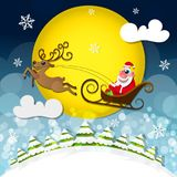 Cute Santa Claus. Magic silent night. Cute Santa Claus with gifts is coming down holding giant Christmas. Seasons Greetings concept Stock Photos