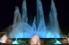 Magic singing fountains on Montjuic mountain, Barcelona, Spain. This fountain is never the same and looks just wonderful stock image