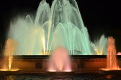 Magic singing fountains on Montjuic mountain, Barcelona, Spain. This fountain is never the same and looks just wonderful royalty free stock photo