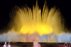 Magic singing fountains on Montjuic mountain, Barcelona, Spain. This fountain is never the same and looks just wonderful royalty free stock image