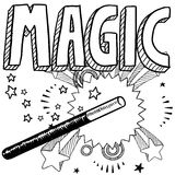 Magic sketch. Doodle style magic performer illustration in vector format. Includes text and magic wand Stock Photography