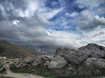 Magic sky of Balaklava. Magic clouds of Balaklava royalty free stock photos
