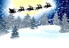 Magic sleigh Santa Clause. The Magic of Christmas card with reindeer, sleigh and Santa Claus. The Wonders of Christmas Eve.Background snowy forest with fir trees Royalty Free Stock Image
