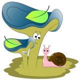 Magic snail and mushrooms royalty free illustration