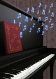 Magic Songs A. Illustration of piano with music book releasing beautiful glowing blue magical notes floating upward Royalty Free Stock Image