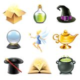 Magic and sorcery icons vector set Stock Image