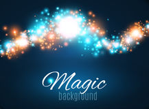 Magic Space. Fairy Dust. Infinity. Abstract Universe Background. Blue Background and Shining Stars. Vector illustration Stock Photos