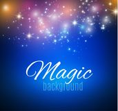 Magic Space. Fairy Dust. Infinity. Abstract Universe Background. Blue Background and Shining Stars. Vector illustration.  Stock Image
