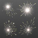 Magic spark effects, burning bengal lights, sparkler fire vector set Royalty Free Stock Images