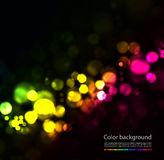 Magic sparkle. Light dots on black background. Vector bokeh effect Royalty Free Stock Photo