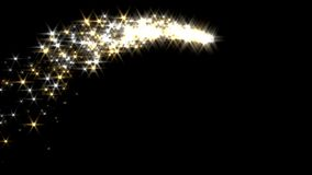 Magic sparkles fairy dust wand particle trail gold silver arc transition stock footage