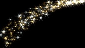 Magic sparkles fairy dust wand particle trail gold silver transition l-r stock video footage