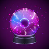 Magic Sphere Illustration. Magic occult fortune teller sphere with glowing effect on dark purple background vector illustration Stock Image