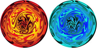 Magic sphere. Set of two abstract fantasy elements orbs Royalty Free Stock Image