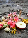 Magic spiral works next to a lake, wicca altar. Pagan religion. Magic spiral works next to a lake, wicca altar Royalty Free Stock Photos