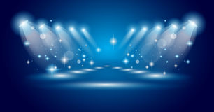 Magic Spotlights with Blue rays Royalty Free Stock Photography