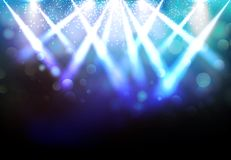 Magic Spotlights with Blue rays and glowing effect for party eve. Nt, concert, advertising, Vector illustration Royalty Free Stock Photos