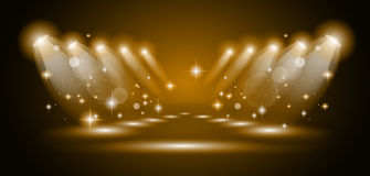 Magic Spotlights with Gold rays Stock Photography