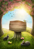 Magic spring forest. Wooden sign in the magic spring forest stock photo