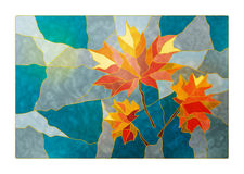 Magic stained glass window with the image of a yellow-red autumn Stock Photography