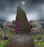 Magic Stairway to Heaven. 3D rendering of a magical stairway leading into heaven Royalty Free Stock Image
