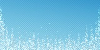 Magic stars Christmas background. Subtle flying sn. Ow flakes and stars on transparent blue background. Actual winter silver snowflake overlay template. Splendid stock illustration