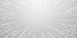 Magic stars Christmas background. Subtle flying sn. Ow flakes and stars on light grey background. Alive winter silver snowflake overlay template. Interesting vector illustration