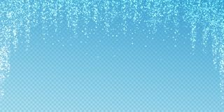 Magic stars Christmas background. Subtle flying snow. Flakes and stars on transparent blue background. Actual winter silver snowflake overlay template. Pleasant royalty free illustration