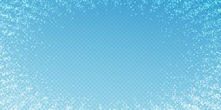 Magic stars Christmas background. Subtle flying snow. Flakes and stars on transparent blue background. Alive winter silver snowflake overlay template. Sublime vector illustration