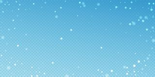 Magic stars random Christmas background. Subtle fl. Ying snow flakes and stars on blue transparent background. Beautiful winter silver snowflake overlay template stock illustration