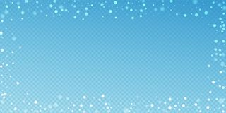 Magic stars random Christmas background. Subtle fl. Ying snow flakes and stars on blue transparent background. Awesome winter silver snowflake overlay template royalty free illustration