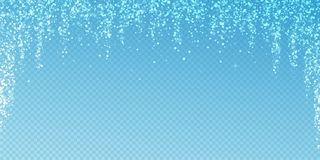 Magic stars sparse Christmas background. Subtle fl. Ying snow flakes and stars on transparent blue background. Actual winter silver snowflake overlay template royalty free illustration