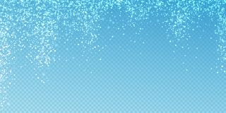 Magic stars sparse Christmas background. Subtle fl. Ying snow flakes and stars on transparent blue background. Admirable winter silver snowflake overlay template vector illustration