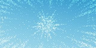 Magic stars sparse Christmas background. Subtle fl. Ying snow flakes and stars on blue transparent background. Artistic winter silver snowflake overlay template stock illustration