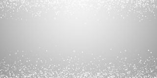Magic stars sparse Christmas background. Subtle fl. Ying snow flakes and stars on light grey background. Amusing winter silver snowflake overlay template royalty free illustration