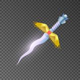 Epic stiletto  game element. Magic stiletto  game element. Shiny medieval weapon for computer game design. Fight decoration, fantasy battle object vector Royalty Free Stock Photo