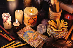 Magic still life with old tarot cards and candles Royalty Free Stock Photos
