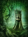 Magic stump. With a face in the wood Royalty Free Stock Image