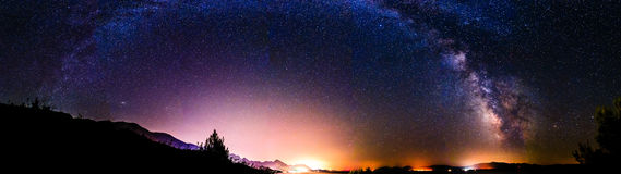 Croatian night time view panorama with milky way Royalty Free Stock Image