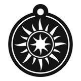Magic sun medallion icon, simple style royalty free illustration