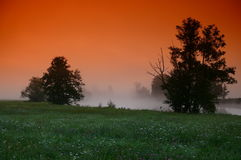 Magic sunrise. Sunrise on a misty river stock images