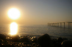 Magic sunrise on the bank of Mediterranean sea Royalty Free Stock Photography