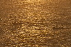 Balinese boats sunset Royalty Free Stock Images