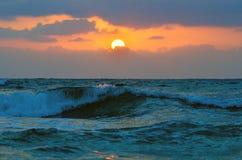 Magic Sunset. Beautiful dramatic sunset in the Mediterranean Sea Stock Photos