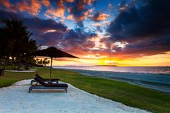 A magic sunset in Fiji Royalty Free Stock Photography