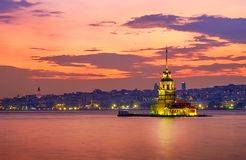 Sunset in Istanbul, Turkey. View of the Maiden Tower and the Bosphorus. Magic Sunset in Istanbul, Turkey. View of the Maiden Tower and the Bosphorus royalty free stock photo